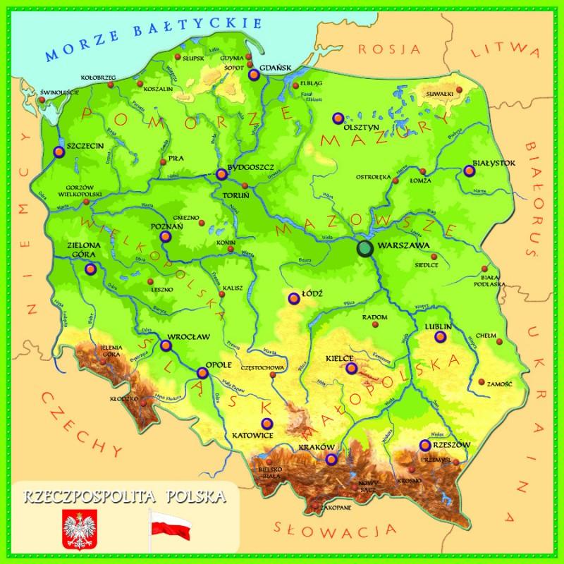 Parki Narodowe - magnetyczna mapa Polski (80cm x 80cm) - Temat ...